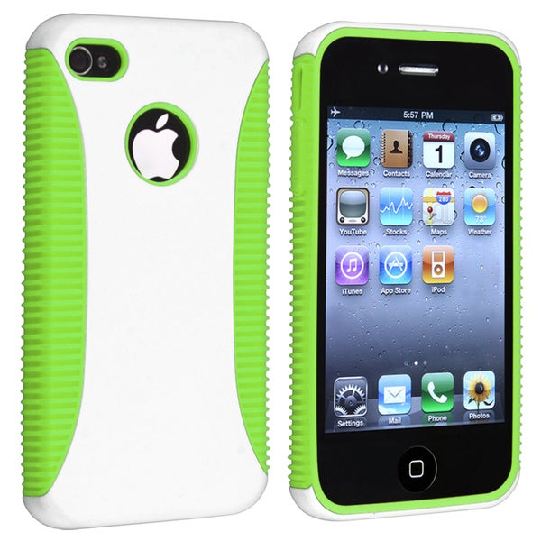 Light Green TPU/ White Hard Hybrid Case for Apple iPhone 4/ 4S