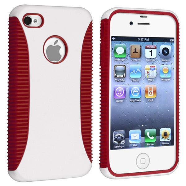 Red TPU/ White Hard Hybrid Case for Apple iPhone 4/ 4S