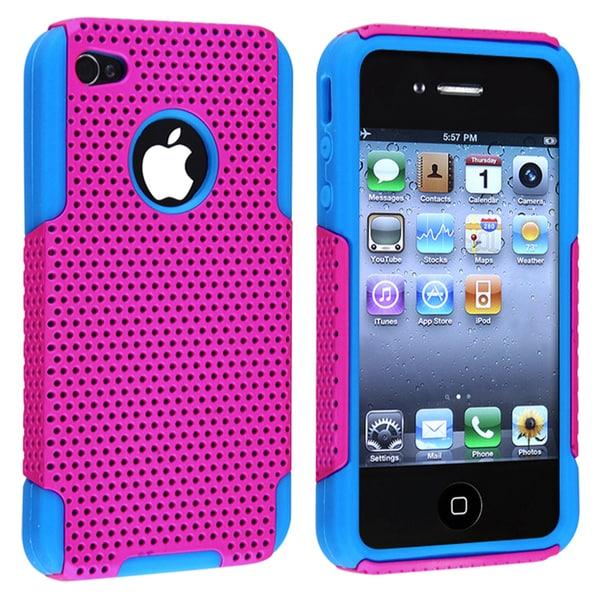 Sky Blue Skin/ Hot Pink Meshed Hybrid Case for Apple iPhone 4/ 4S