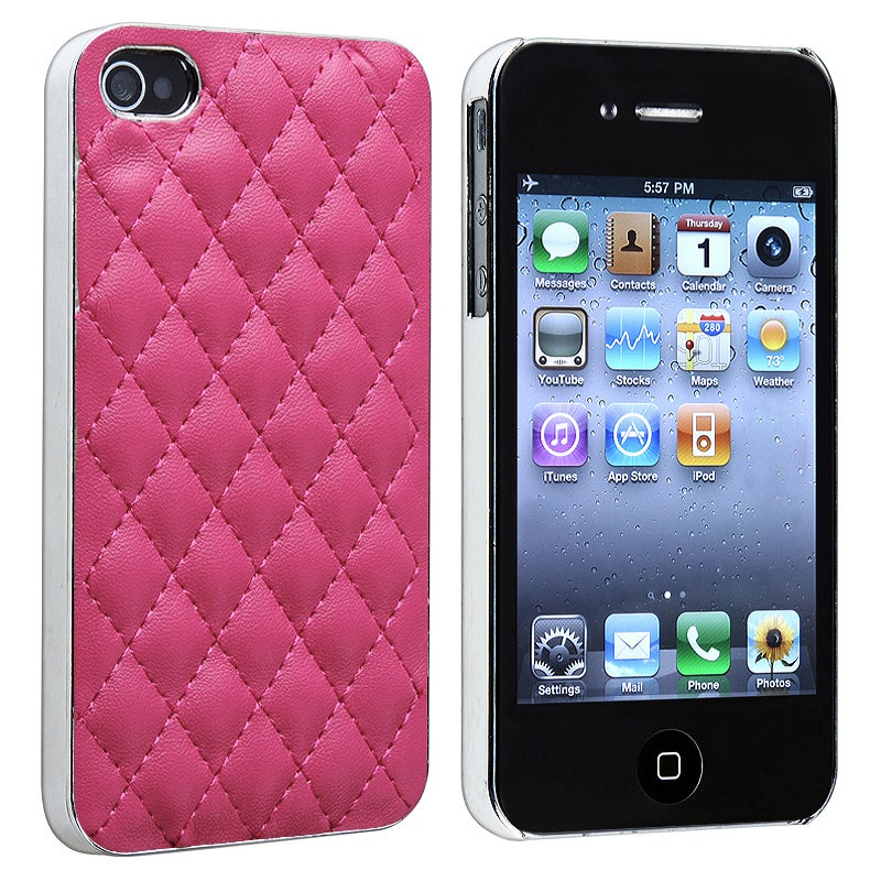 INSTEN Pink Leather With Silver Side Snap-on Phone Case Cover for Apple iPhone 4/ 4S