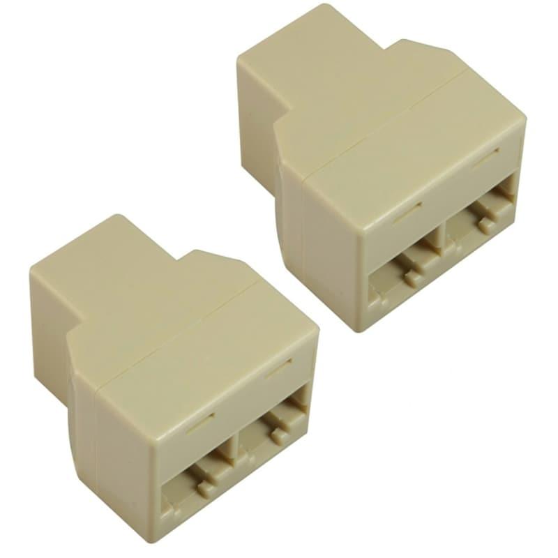 INSTEN RJ45 1x2 Ethernet Connector Splitter (Pack of 2)