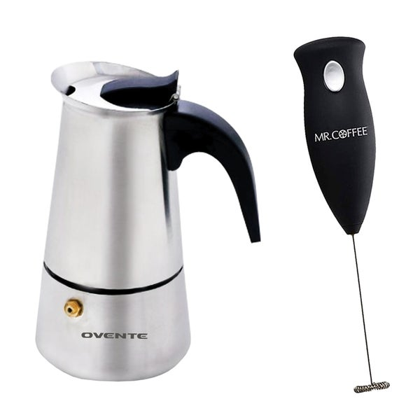 Ovente 4-cup Stainless Steel Stove-top Espresso Maker with Mr. Coffee Milk Frother