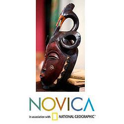 Sese Wood Handcrafted 'Compassion and Bravery' Ivoirian Mask (Ghana) - Thumbnail 1
