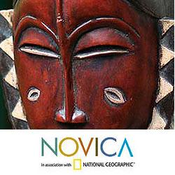 Sese Wood Handcrafted 'Compassion and Bravery' Ivoirian Mask (Ghana) - Thumbnail 2