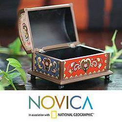 Reverse Painted Glass 'Magic Treasure Chest' Box (Peru) - Thumbnail 1