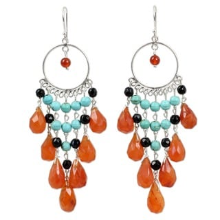Handmade Sterling Silver 'Ginger Ruffles' Carnelian Earrings (Thailand)