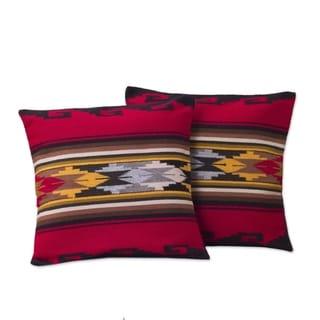 Handmade Set of 2 Alpaca Wool Red Sea Cushion Covers (Peru)