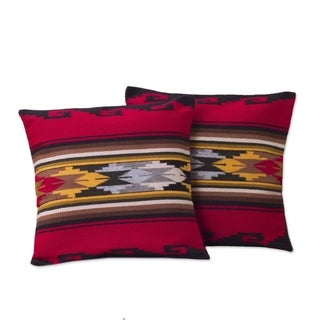 Handmade Set of 2 Alpaca Wool 'Red Sea' Cushion Covers (Peru)
