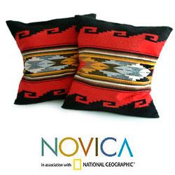 Set of 2 Alpaca Wool 'Red Sea' Cushion Covers (Peru)