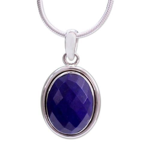 "NOVICA Handmade Sterling Silver 'Blue Destiny' Lapis Lazuli Necklace (India) - 7'6"" x 9'6"""