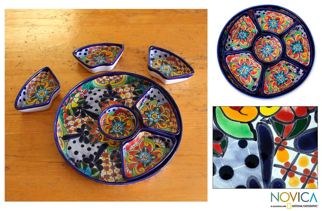 Hand-crafted Ceramic 'Festive Feast' 7-piece Appetizer Set (Mexico)
