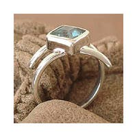 Handmade Sterling Silver 'Azure Blue' Topaz Solitaire Ring (India)