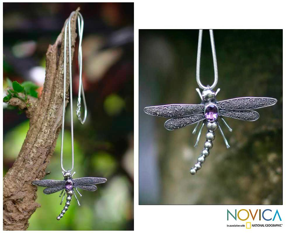 Handmade Sterling Silver 'Enchanted Dragonfly' Amethyst Necklace (Indonesia)