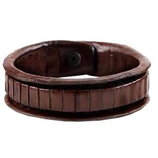Handmade Leather 'The Ladder' Wristband Bracelet (Thailand)