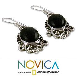 Sterling Silver 'Midnight Kiss' Onyx Dangle Earrings (India) - Thumbnail 2