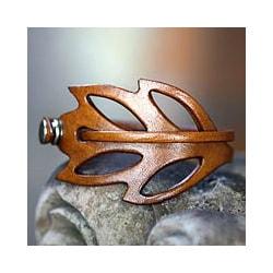 Lucky Leaf Style Whimsical Handmade Artisan Designer Fashion Clothing Accessory Leather Wrap Jewelry Bracelet (Indonesia)