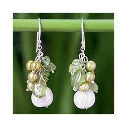 Sterling Silver 'Lime' Peridot and Pearl Earrings (4-8.5 mm)(Thailand)