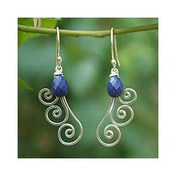 Handmade Sterling Silver 'Chiang Mai Dew' Lapis Lazuli Earrings (Thailand)