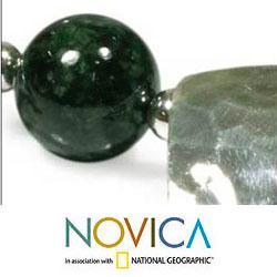 Sterling Silver 'Panajachel Moon' Jade Necklace (Guatemala)