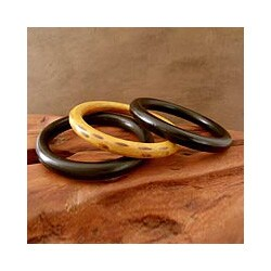 Set of 3 Seesham Wood 'Exotic Delhi' Bangle Bracelets (India)