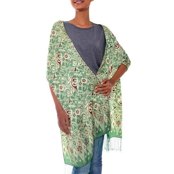 Handmade Silk 'Bogor Lady' Batik Shawl (Indonesia)