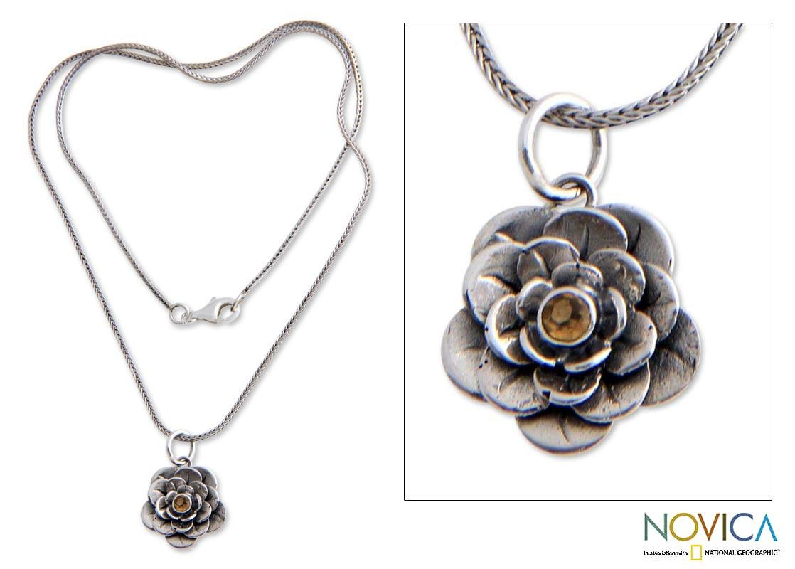 Handmade Sterling Silver 'Holy Lotus' Citrine Flower Necklace (Indonesia)