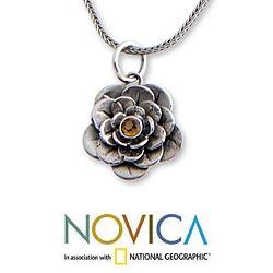 Handmade Sterling Silver 'Holy Lotus' Citrine Flower Necklace (Indonesia) - Thumbnail 1