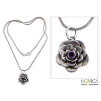 Handmade Sterling Silver 'Holy Lotus' Amethyst Flower Necklace (Indonesia)