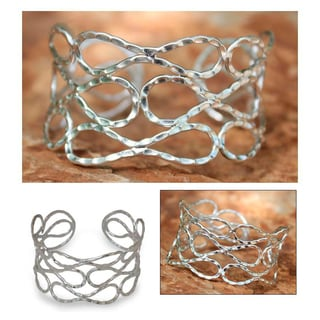 Handmade Sterling Silver 'Siam Forever' Cuff Bracelet (Thailand)