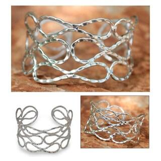 Handmade Sterling Silver 'Siam Forever' Cuff Bracelet (Thailand)