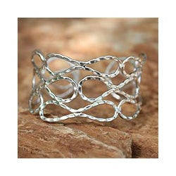Sterling Silver 'Siam Forever' Cuff Bracelet (Thailand)