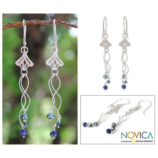 Handmade Silver 'Filigree Tulips' Pearl Lapis Earrings (3.5 mm) (Thailand)