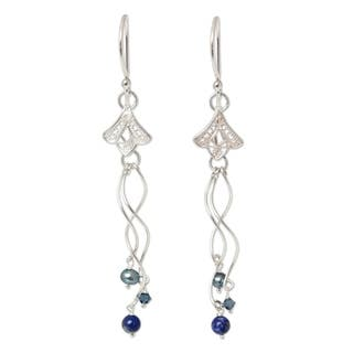 Handmade Silver 'Filigree Tulips' Pearl Lapis Earrings (3.5 mm) (Thailand)|https://ak1.ostkcdn.com/images/products/6514593/P14101682.jpg?impolicy=medium
