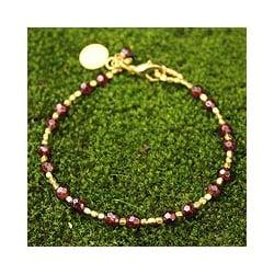 Handmade Gold Overlay 'Divine Deva' Garnet Bracelet (Thailand)