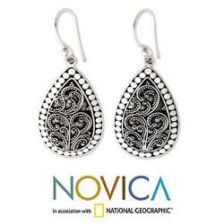Sterling Silver 'Denpasar Mystique' Flower Earrings (Indonesia)