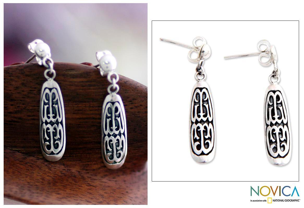 Handmade Sterling Silver 'Papua Scute' Dangle Earrings (Indonesia)