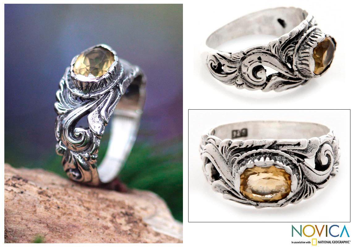Handmade Sterling Silver 'Feminine Charm' Citrine Ring (Indonesia)