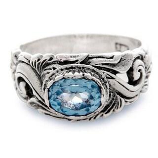 Handmade Sterling Silver 'Feminine Charm' Blue Topaz Ring (Indonesia)