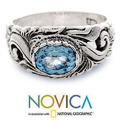 Sterling Silver 'Feminine Charm' Blue Topaz Ring (Indonesia)