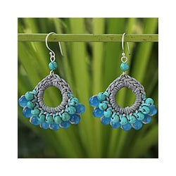 Sterling Silver 'Mekong Blue' Calcite Earrings (Thailand)
