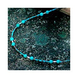 Sterling Silver 'Blue Islands' Recon Turquoise Necklace(Thailand)