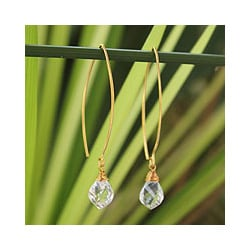 Handmade Gold Overlay 'Breath of Love' Quartz Earrings (Thailand)