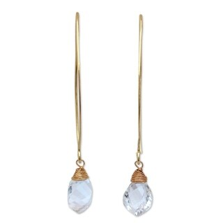 Handmade Gold Overlay 'Breath Of Love' Quartz Earrings (Thailand) - Clear