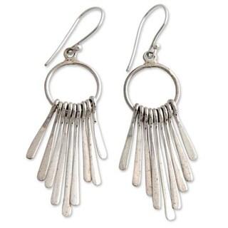 Handmade Sterling Silver 'Feather Cascade' Chandelier Earrings (Indonesia)