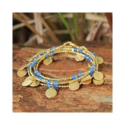 Gold Overlay 'Ocean Suns' Quartz Bracelet (Thailand)
