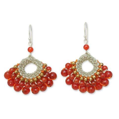 "Handmade Sterling Silver 'Orange Lanna' Multi-gemstone Earrings (Thailand) - 2.0"" L x 1.4"" W"
