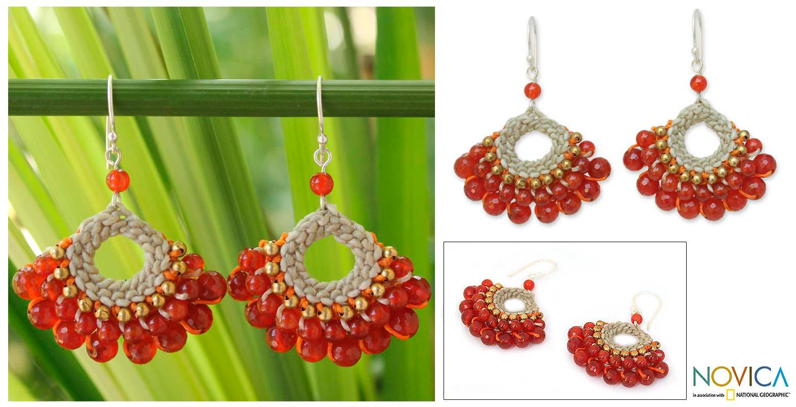Sterling Silver 'Orange Lanna' Multi-gemstone Earrings (Thailand)
