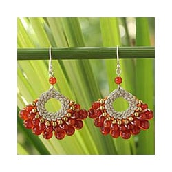 Sterling Silver 'Orange Lanna' Multi-gemstone Earrings (Thailand)
