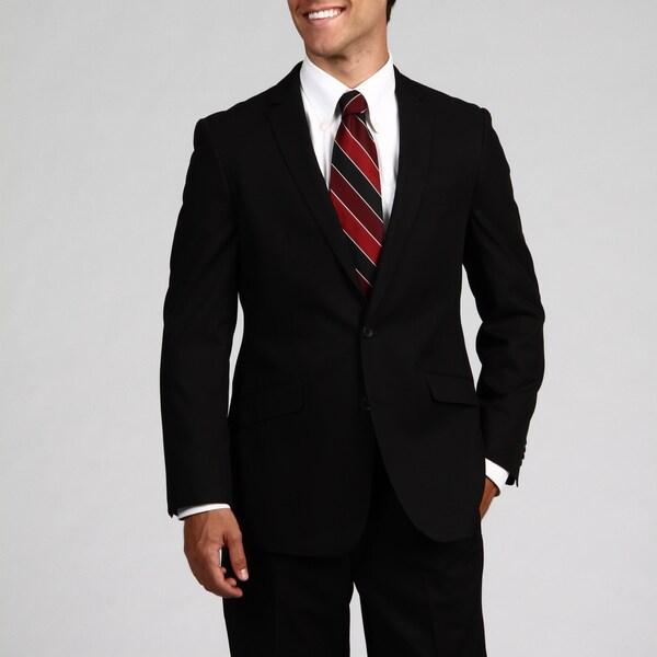 Kenneth Cole Reaction Men's Black Double Vent 2-button Slim Fit Suit