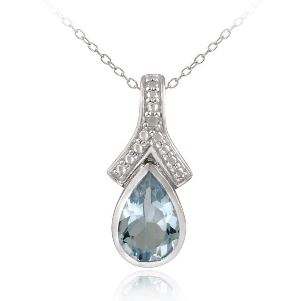 Glitzy Rocks Sterling Silver Blue Topaz and Diamond Accent Necklace (3 1/2ct TGW)